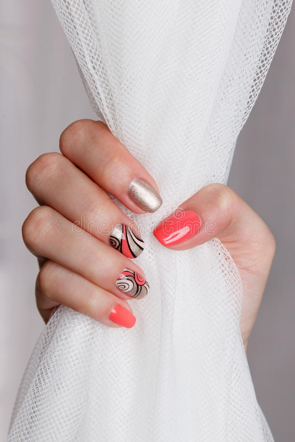Colorful nails with gel polish. Beautiful trendy nails with gel polish royalty free stock image