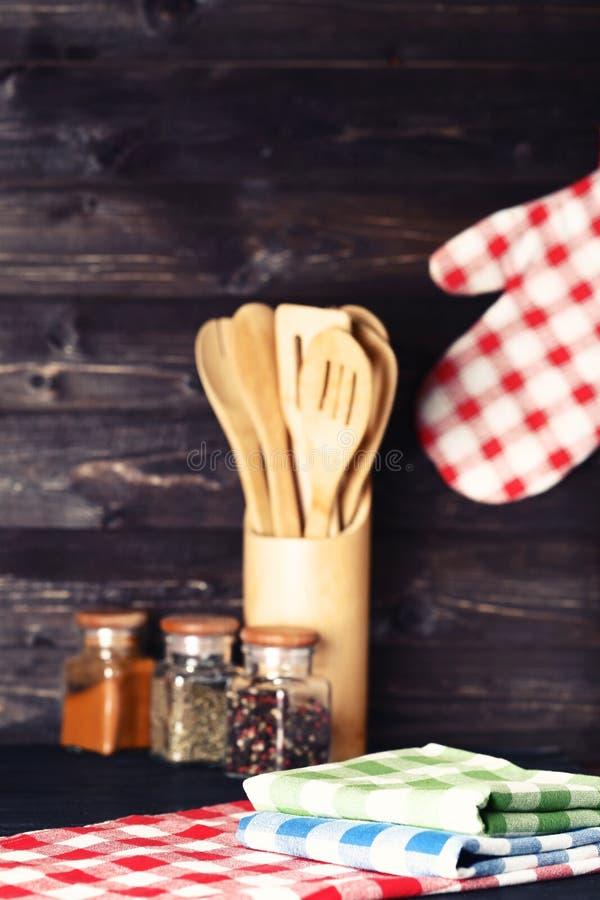 Colorful napkins with seasonings stock photo