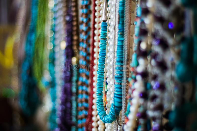 Colorful Native American Necklaces on Display royalty free stock images