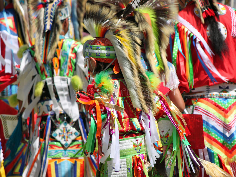 Colorful Native American Regalia at a Summer Powwow stock images
