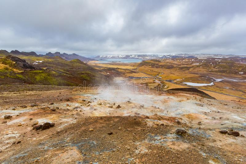Colorful landscape in Krysuvik geothermal area iceland, vapor, sky. Colorful natural landscape in Krysuvik geothermal area iceland, vapor, sky royalty free stock image