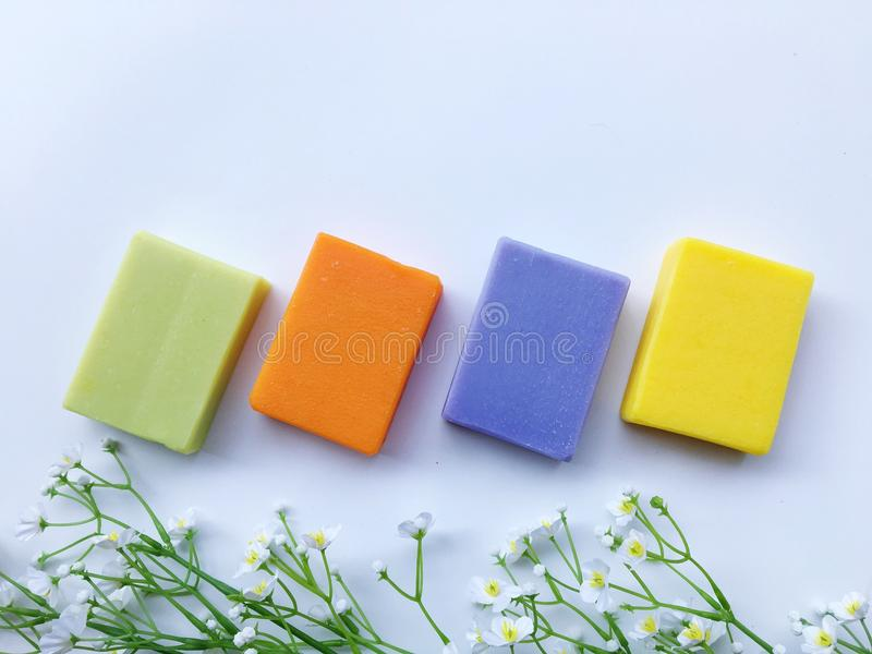 Colorful of natural oil soap. stock photos
