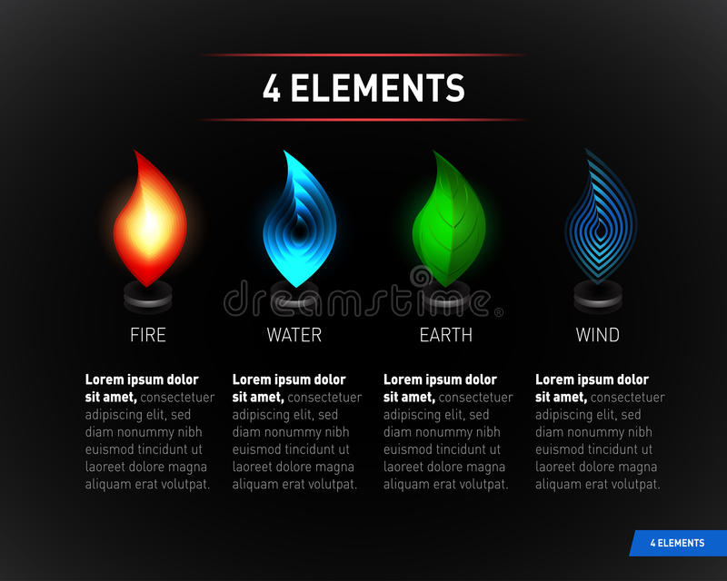 Colorful Nature elements. Water, Fire, Earth, Air. Infographics elements on dark background. vector illustration