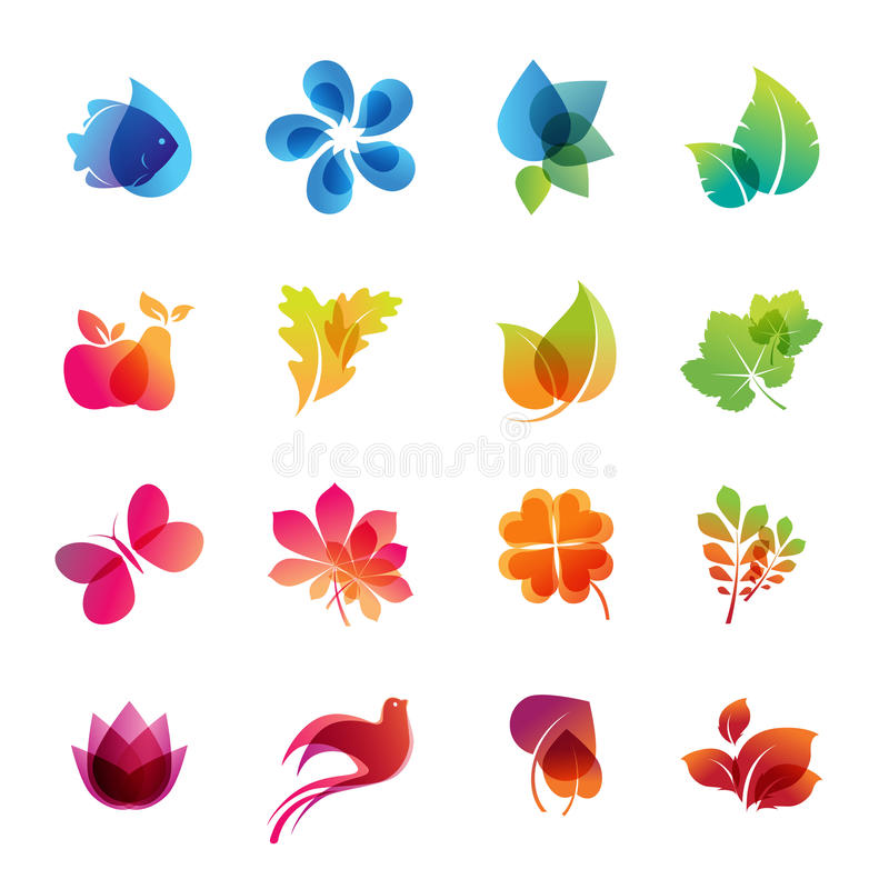 Colorful nature icon set stock illustration
