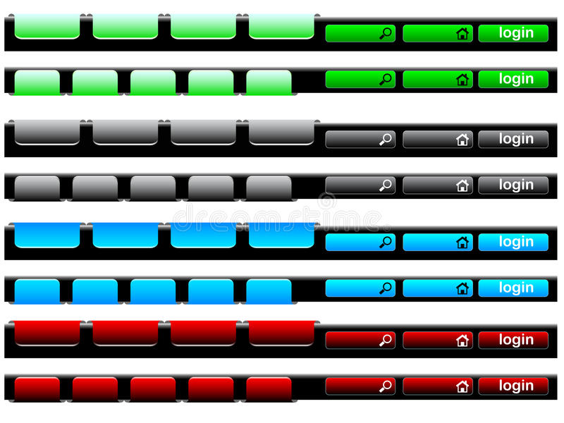 Colorful navigation bar. A colorful navigation bar with different icons royalty free illustration
