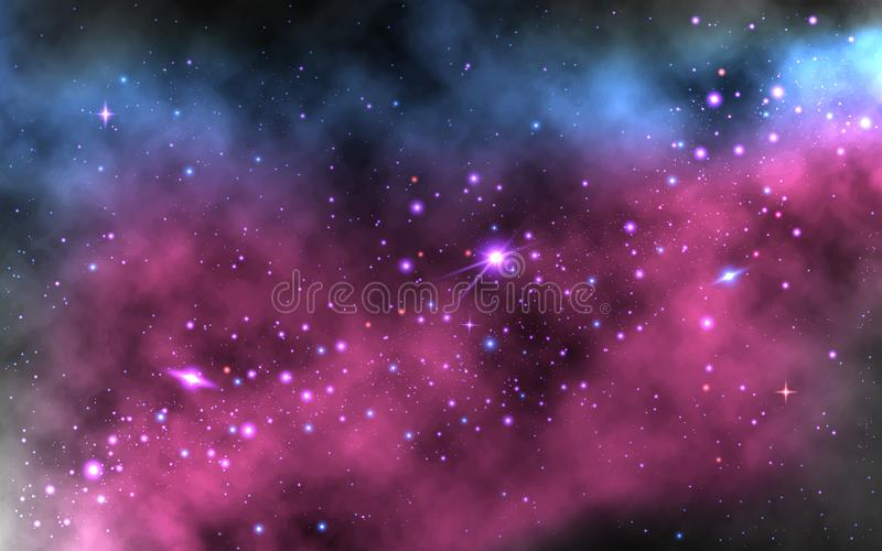 Colorful nebula background. Realistic space wallpaper with Milky way and shining stars. Space galaxy with planets and. Stardust. Trendy vector illustration vector illustration