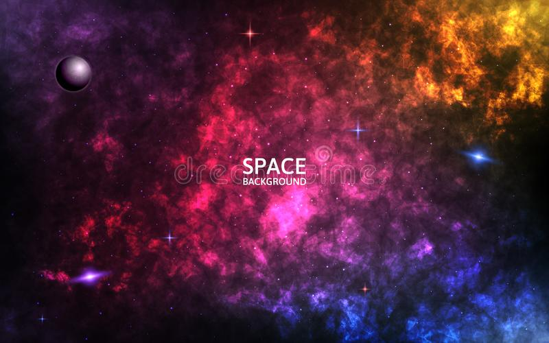 Colorful nebula. Realistic space background. Color cosmos backdrop. Spiral galaxy and shining stars. Planet and stardust vector illustration