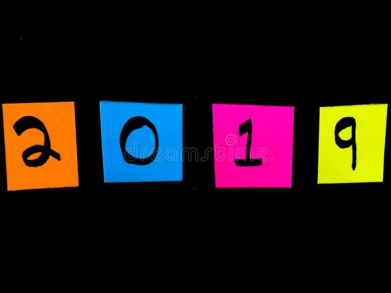 Colorful Neon 2019 on Black Background stock photo