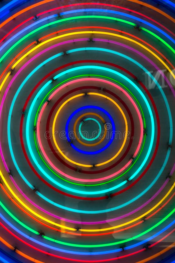 Rainbow circles neon royalty free stock image