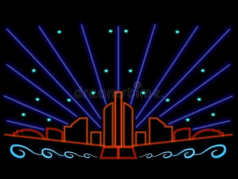 Colorful neon city lights night scene stars laser. Illustration of city at night in neon effect. Buildings, cityscape, laser light, stars, waves vector illustration