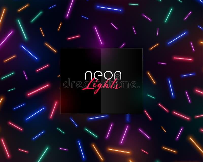 Colorful neon confetti lights shiny background design stock illustration