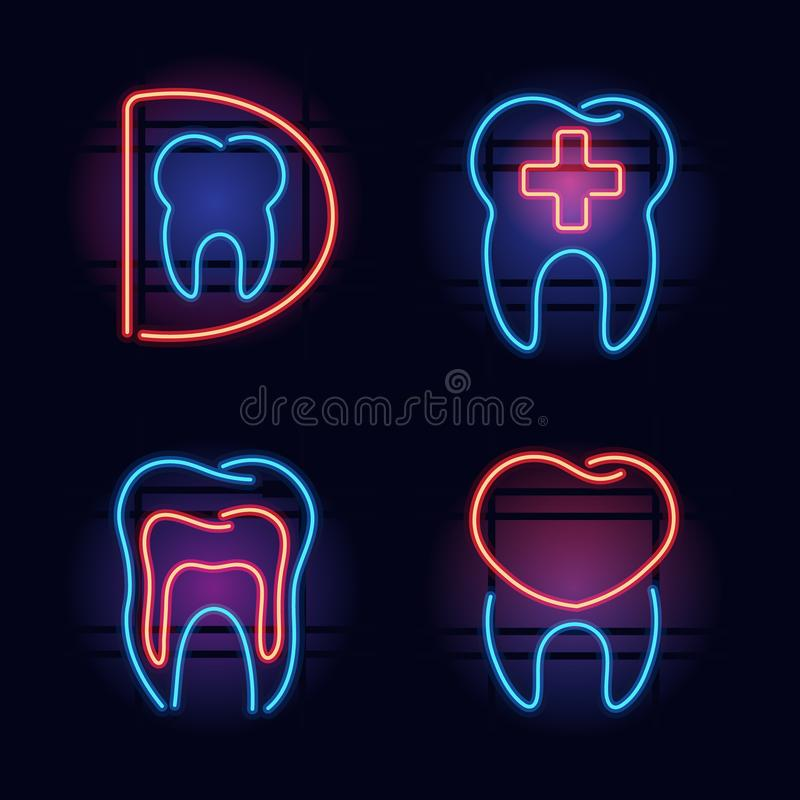 Colorful neon health care signs. Set of red and blue neon signs for dental office. Signs are glowing in the dark night on brick wall background vector illustration