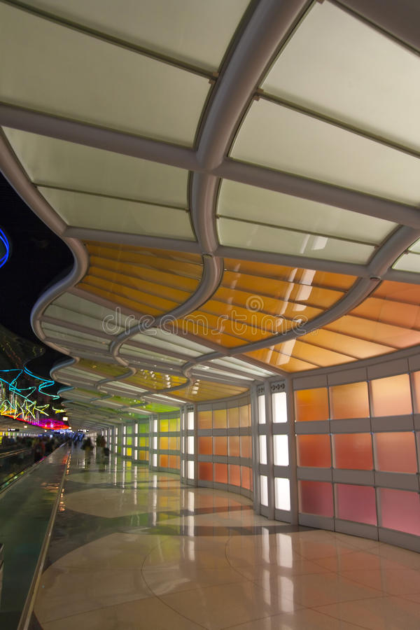 Colorful neon lights. In Chicago airport stock photos