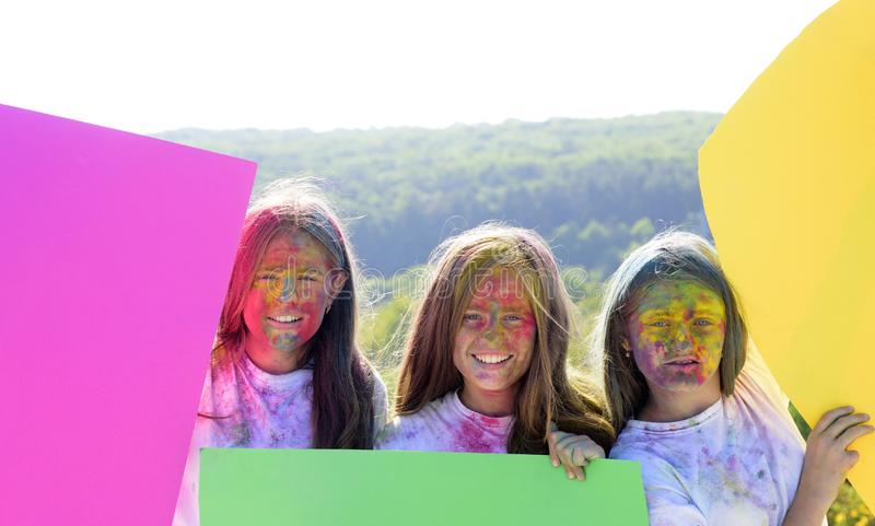 Colorful neon paint makeup. positive and cheerful. children with creative body art. Happy youth party. Optimist. Spring. Vibes. Crazy hipster girls. Summer royalty free stock photos