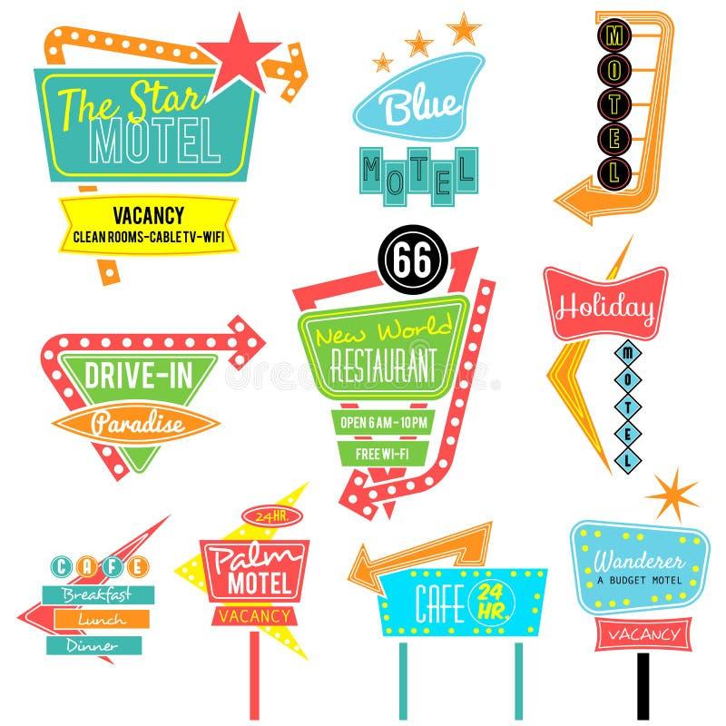 Colorful neon sign motel cafe restuarant vector illustration