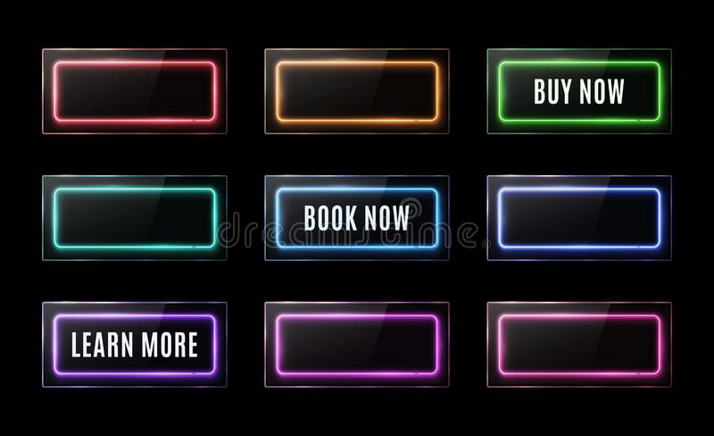 Colorful neon square signs set. Buy now, learn more, book now light banners design. Rectangle button on black background vector illustration