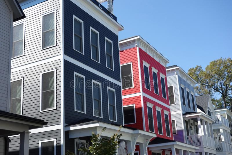 Colorful new homes stock image
