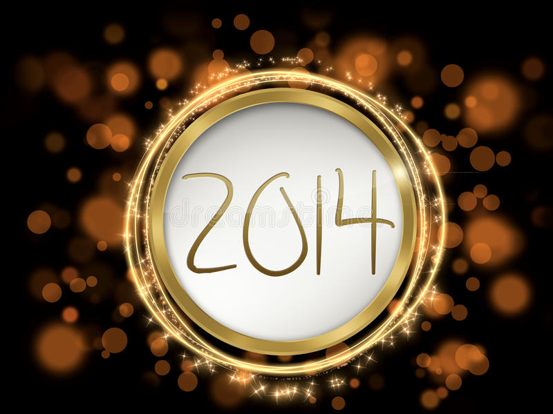 Colorful new year 2014 text. Background with new year 2014 theme and numbers royalty free illustration