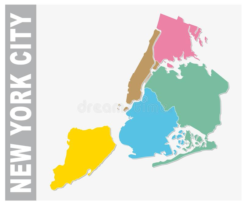 Colorful New York City administrative and political vector map, united states stock illustration