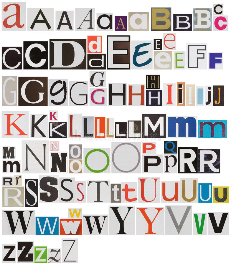 Colorful newspaper alphabet stock photography