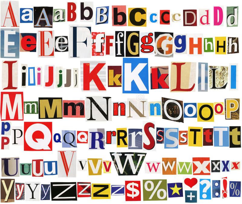 Colorful newspaper alphabet. Big size collection of colorful newspapers, magazines letters isolated on a white background stock images