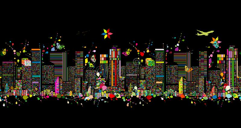Colorful night metropolis, seamless pattern for your design. Vector illustration royalty free illustration