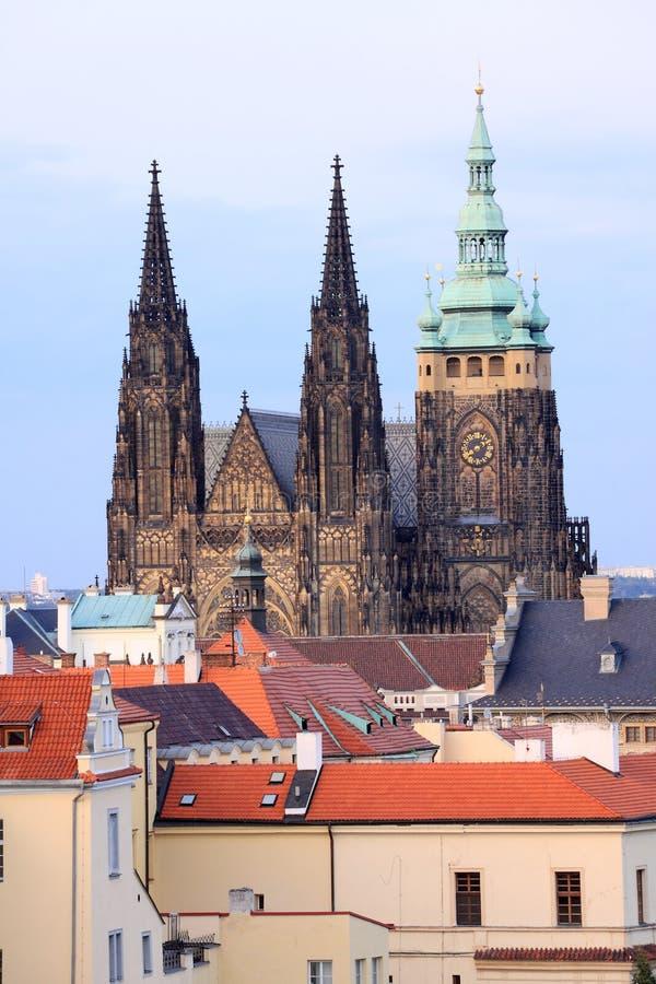Colorful night Prague Castle royalty free stock image