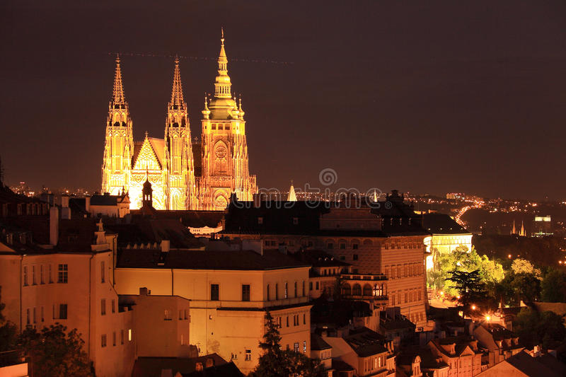 Colorful night Prague with Castle royalty free stock photo