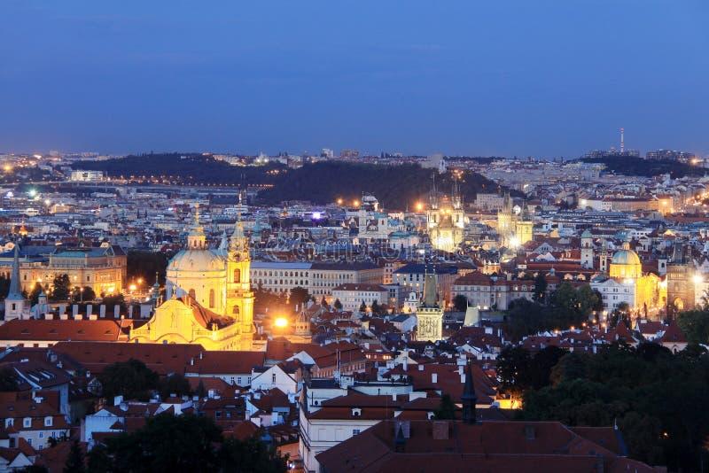Colorful night Prague stock photography