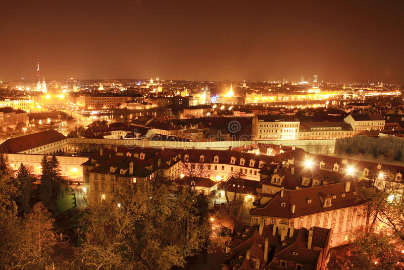 Colorful night Prague stock photo