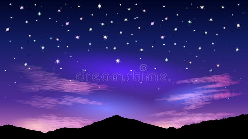 Night starry sky and pink clouds. stock illustration