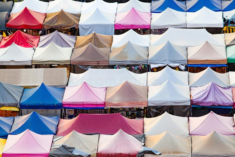 colorful Night Train Market Ratchada, Bangkok, Thailand royalty free stock photos