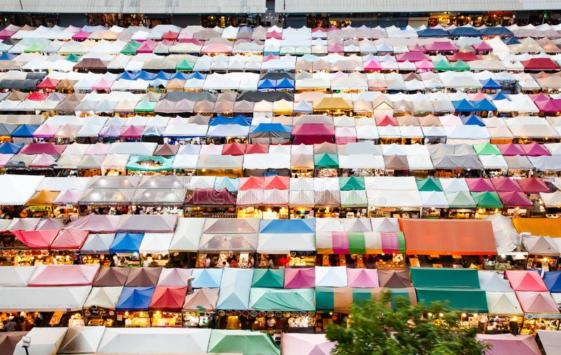 Colorful Night Train Market Ratchada, Bangkok, Thailand. Asia, view, street, city, travel, light, food, building, modern, landmark, cityscape, outdoor royalty free stock images