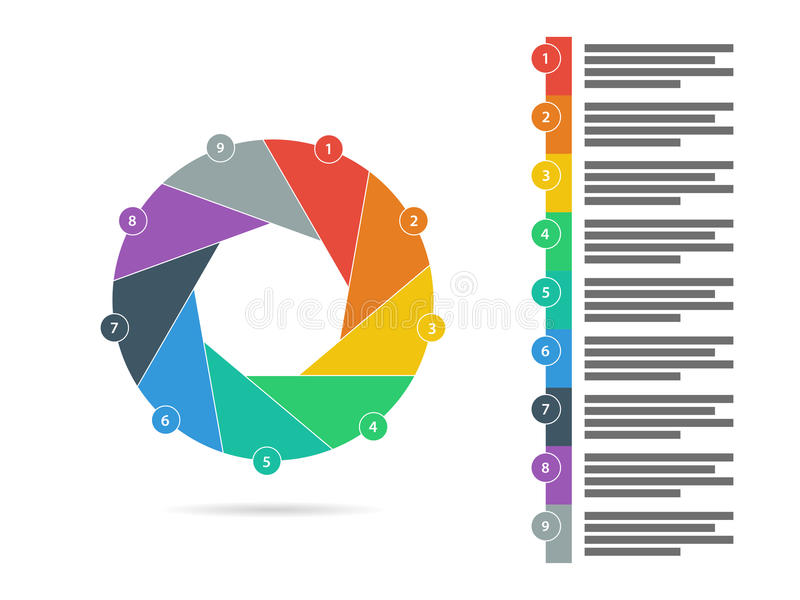 Colorful nine sided flat shutter puzzle presentation infographic diagram chart vector royalty free illustration