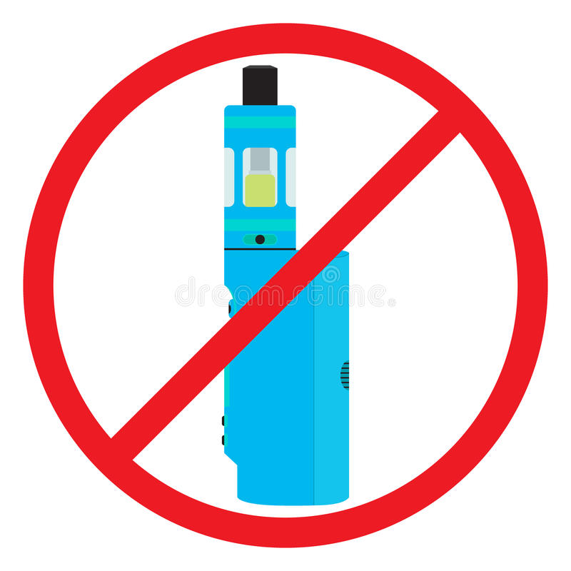 Colorful no vaping sign. Prohibition sign. No smoking area stock illustration