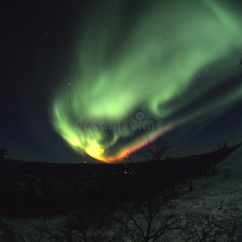 Colorful northern lights display royalty free stock photo