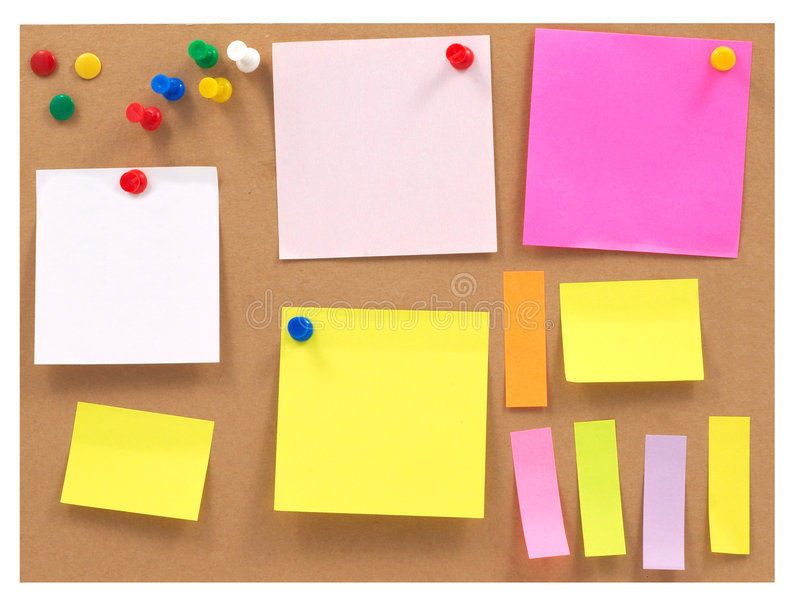 Colorful note papers stock photography