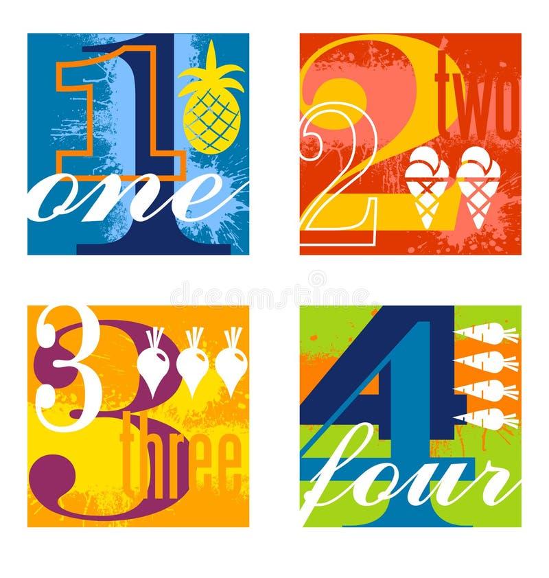 Colorful number designs set 1 stock illustration