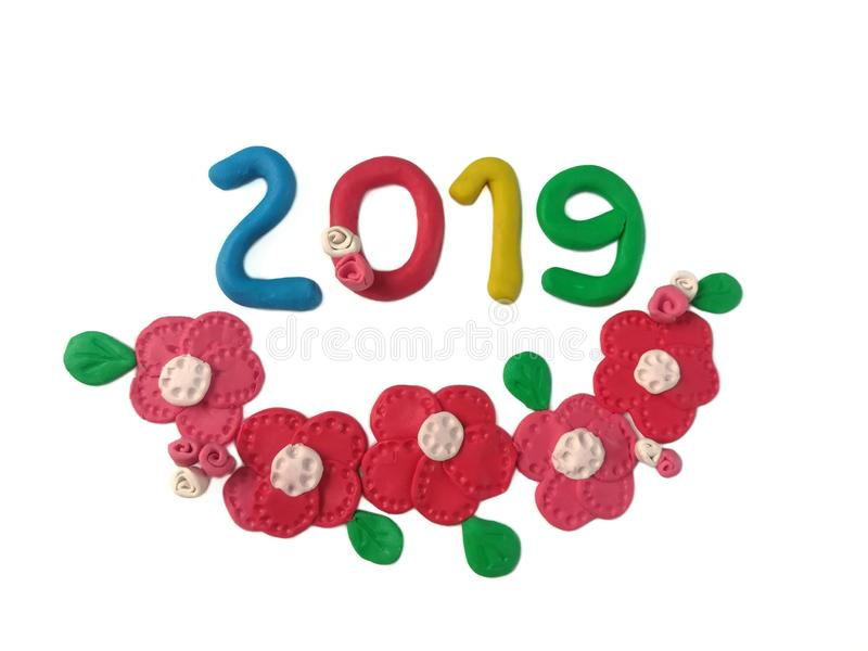 Colorful number 2019, plasticine clay year, beautiful flower dough stock images