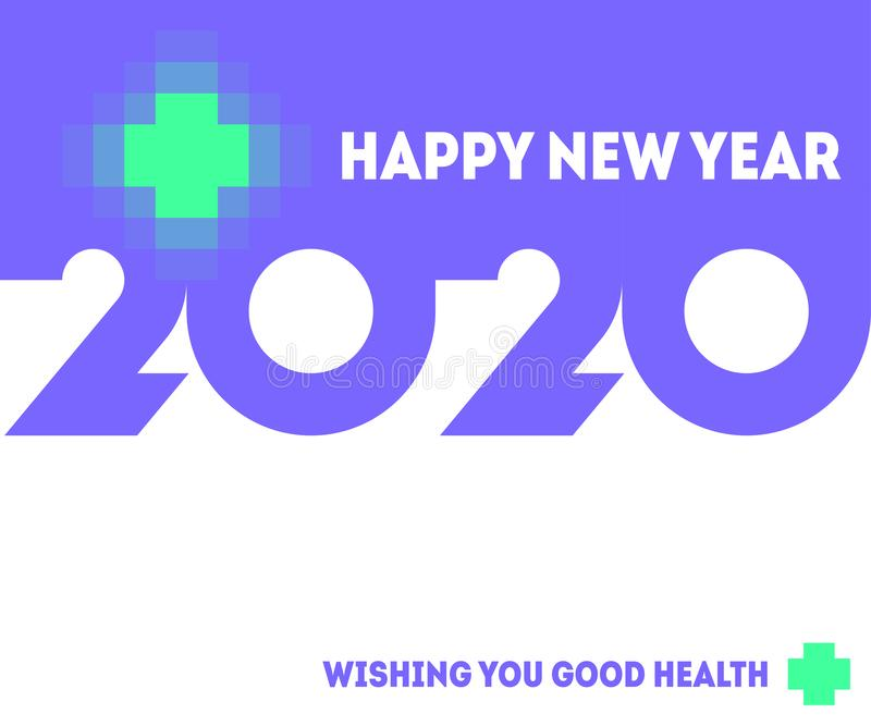 Colorful numbers 2020 with abstract laser cross and wishes of good health in New Year. Modern vector illustration stock illustration