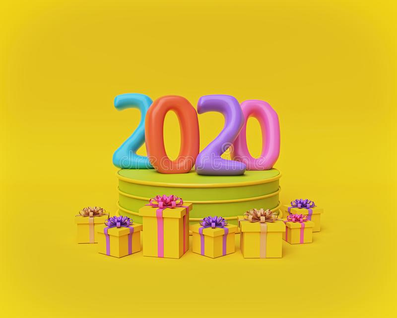 Colorful 2020 numbers on a podium. 3d rendering royalty free illustration