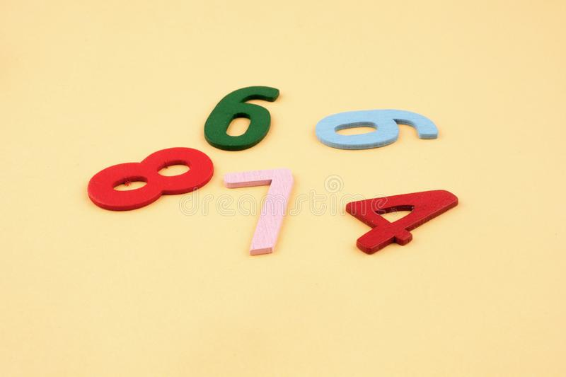 Colorful Numbers. On a yellow background royalty free stock images