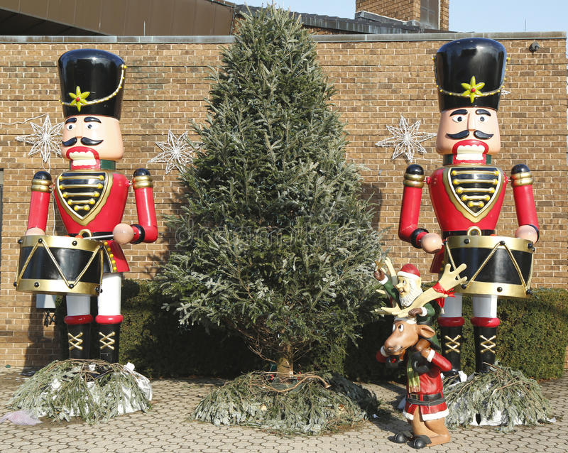 Colorful nutcrackers with the Christmas tree royalty free stock photography
