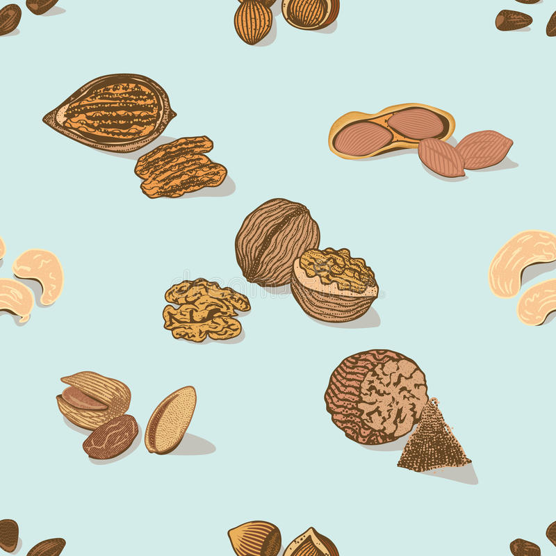 Colorful Nuts And Seeds Seamless Pattern stock illustration
