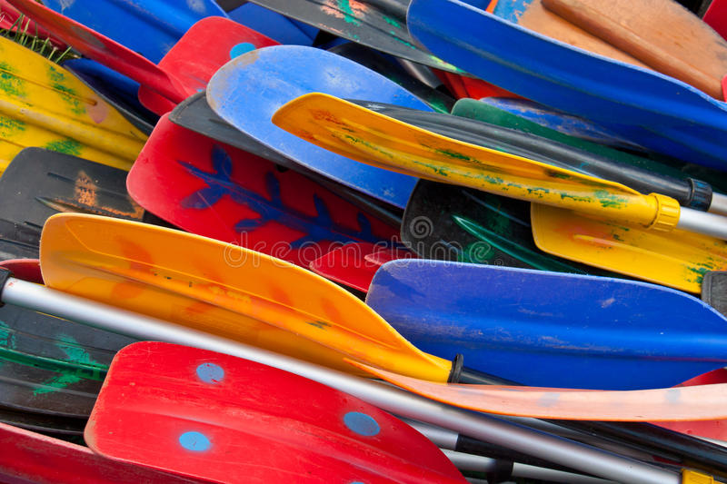 Colorful oars. Bunch of plastic colorful oars royalty free stock image