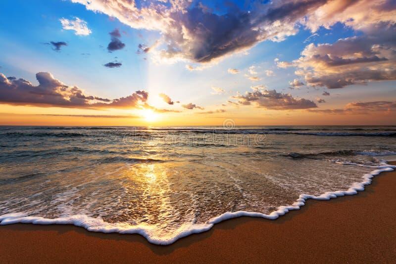 Colorful ocean beach sunrise with deep blue sky and sun rays. royalty free stock photography