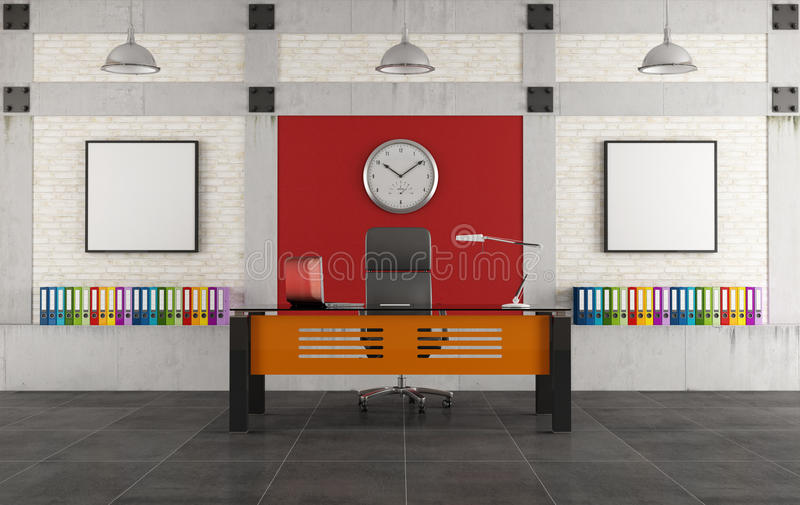 Colorful office in a loft. Colorful office with modern desk in a loft -rendering