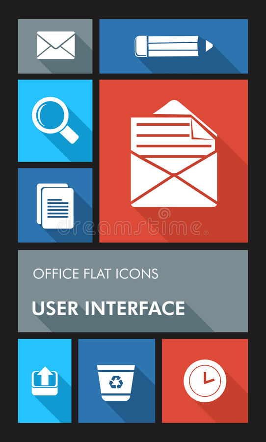Colorful office UI apps user interface flat icons. Office elements mobile UI applications graphic user interface flat icons set. Vector layered for easy editing stock illustration