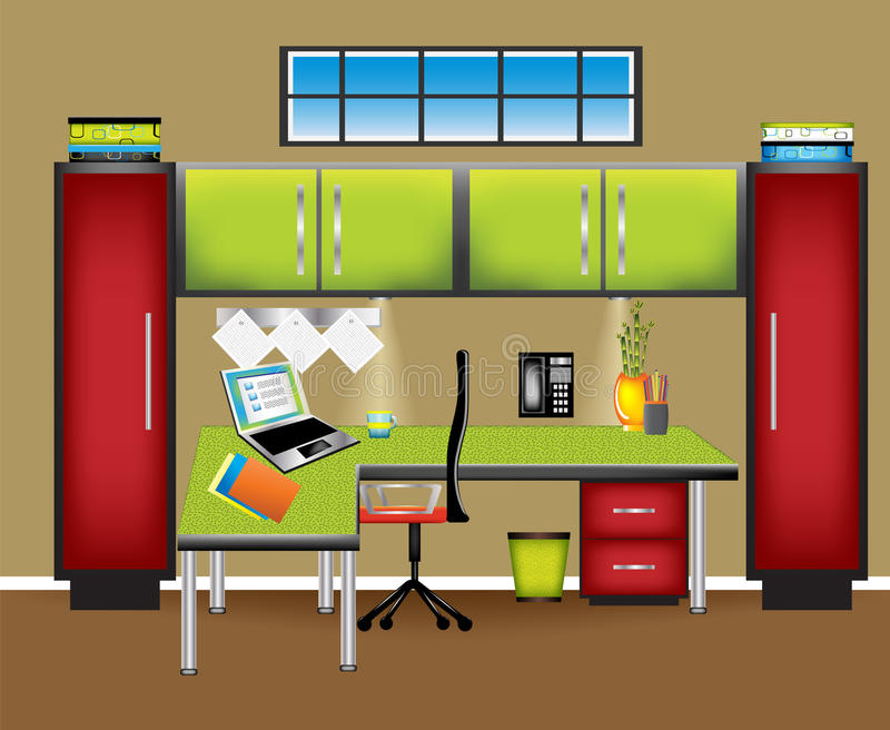 Colorful Office Workspace. Brightly decorated and fun workspace. Warm and cool colors work together to pull together this modern office