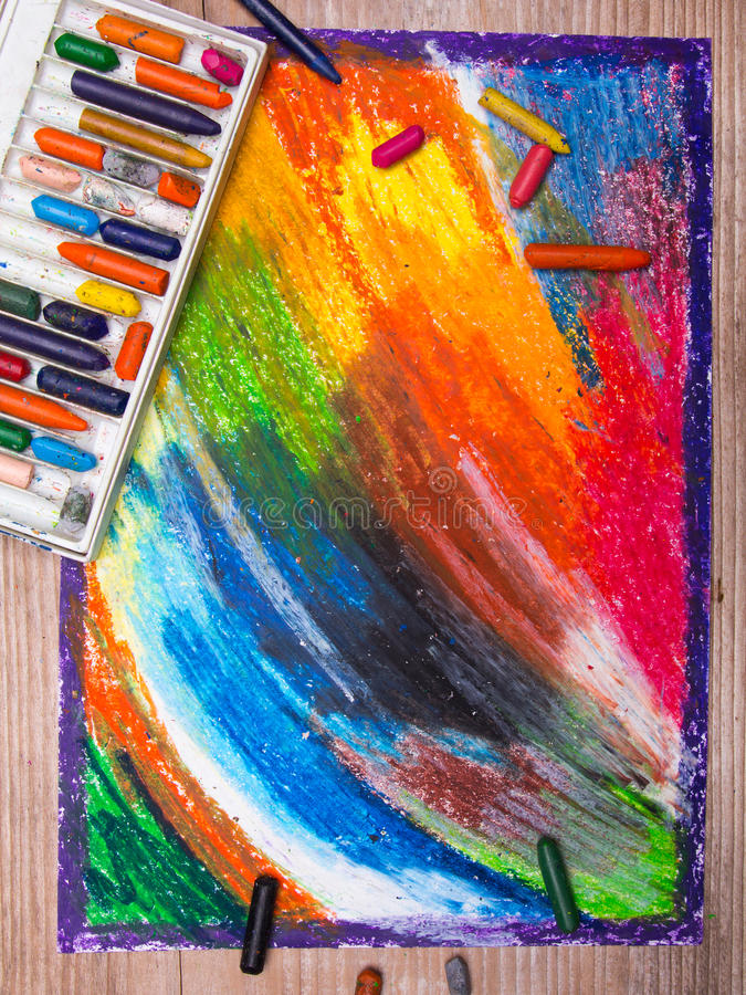 Colorful oil pastels drawing stock photography